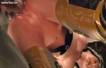 3D anime hottie assfucked by an alien